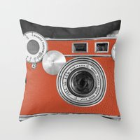 Tangerine Tango retro vintage phone Throw Pillow