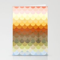 Half Circles Waves Color Stationery Cards
