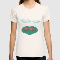 HEARTS IN THE CLOUDS Womens Fitted Tee Natural SMALL