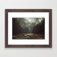 Framed Art Print featuring Foggy Forest Creek by Kevin Russ