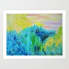 DREAM-SCAPE - Amazing Idyllic Nature Theme Pastel Dream Landscape Abstract Acrylic Painting Art Print