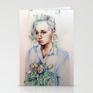 Stationery Cards featuring In Gloom/In Bloom by KatePowellArt