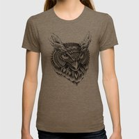 Ornate Owl Head Womens Fitted Tee Tri-Coffee SMALL