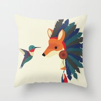 Painted Indian Fox and Hummingbird Throw Pillow