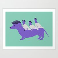Taxi-Dog (mint) Art Print