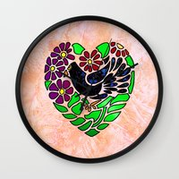 Gothic Bird in Heart on Pink Wall Clock