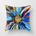 Dutch Spin - Colorful abstract painting flower Throw Pillow
