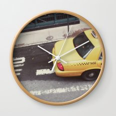 one way taxi:: nyc Wall Clock