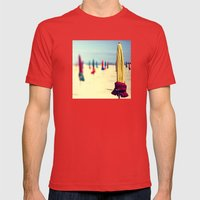 PARASOLS A DEAUVILLE Mens Fitted Tee Red SMALL