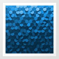 Blue hexagon abstract pattern Art Print