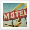 Thrashed Motel Sign Art Print