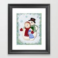 Snowman And Family Glitt… Framed Art Print