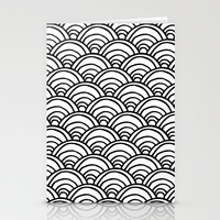 Waves All Over - Black A… Stationery Cards