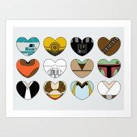 Character Hearts Art Print