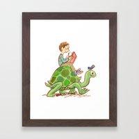The Tortoise-Riding Reader Framed Art Print