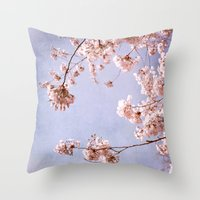Blossoms And Spring Sky Throw Pillow