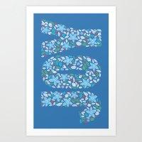 JOY - Medium Blue Art Print