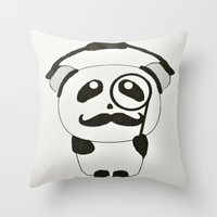 Professor Panda Throw Pillow