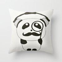 Professor Panda Throw Pillow