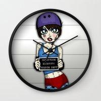 Wanted Skater Roller Der… Wall Clock