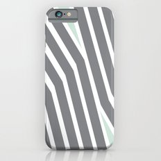 Mint Green and Grey Stripes  iPhone 6s Slim Case
