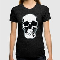 Skull Print Womens Fitted Tee Tri-Black SMALL