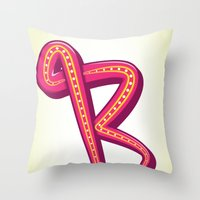 Curly R Throw Pillow