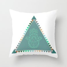 Merkaba Triangle Green Throw Pillow