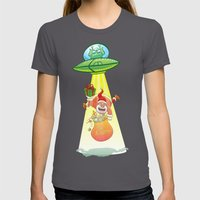 Santa Claus Abducted by a UFO just before Christmas Womens Fitted Tee Asphalt SMALL