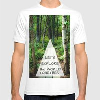 Let's Explore the World Together - Color Mens Fitted Tee White SMALL