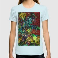 The Van Gogh Tree Womens Fitted Tee Light Blue SMALL