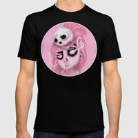 Bubblegum Pink Mens Fitted Tee Black SMALL
