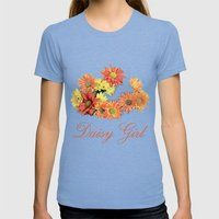 daisy girl. orange, yellow daisy flowers photo art.  Womens Fitted Tee Tri-Blue SMALL