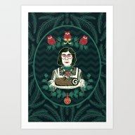 Yule Log Lady (in Green) Art Print