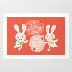 'I belong with you' Bunny Valentines Day Card Art Print