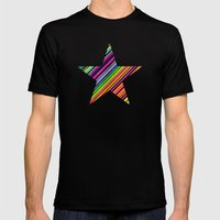 Stripes II Mens Fitted Tee Black SMALL