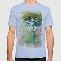 Floral Girl Illustration Mens Fitted Tee Athletic Blue SMALL
