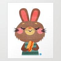 Hot Dog Bunny Art Print