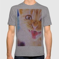 Angry cat Mens Fitted Tee Athletic Grey SMALL