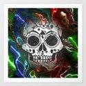 Skull with marbled Vignette Art Print