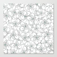 Cherry Blossom Mint Canvas Print