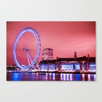 The London Eye, Pink Sky Canvas Print