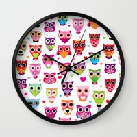 Cute colorful retro style owl illustration pattern Wall Clock