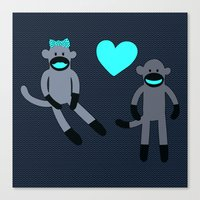 Sock Monkey Love Canvas Print