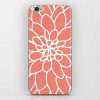 Coral Modern Dahlia Flower iPhone & iPod Skin