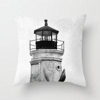 B&W Lighthouse Throw Pillow