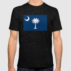 Flag of South Carolina - Authentic High Quality Image Mens Fitted Tee Tri-Black SMALL