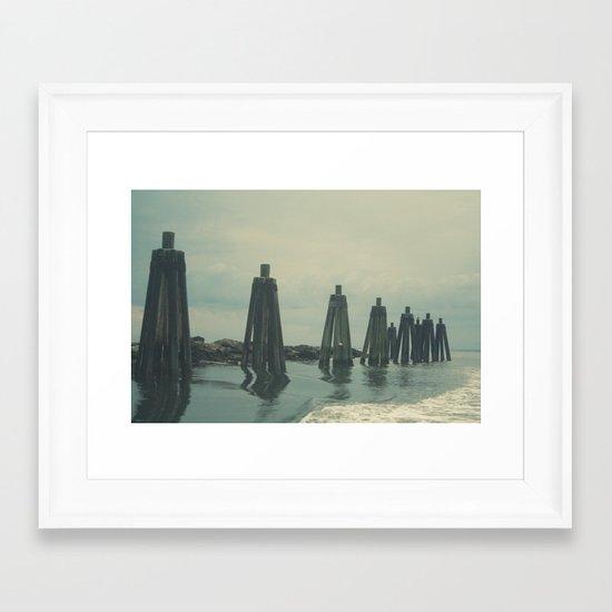 Ferry Dock Haze Framed Art Print