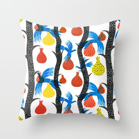 Figs & Birds Throw Pillow