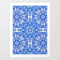 Cobalt Blue & China White Folk Art Pattern Art Print